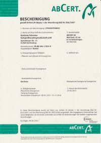 Bio Zertifikat 2015